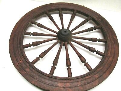 "Antaque/Vintage Spinning Wheel (Wheel Only) 19"" Diameter.  14 Spoke Oak"