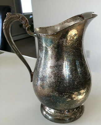 F.B.Rogers Silver Co Vintage '40s Silverplate Water Pitcher w/Ice Guard