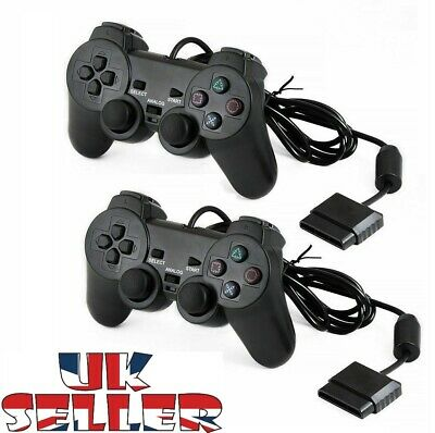 Wired & Wireless Black Dual Shock Controller for PS2 PlayStation Joypad Gamepad