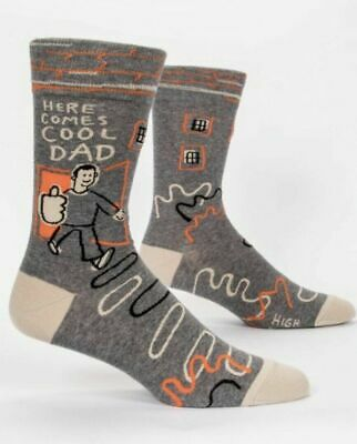 """Blue Q Men's Crew Funny Socks-""""Here Comes Cool Dad"""" NWT"""
