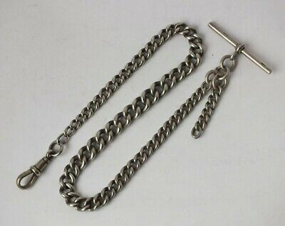 Antique Chester 1912 Solid Sterling Silver Watch Albert Chain/ L 28 cm