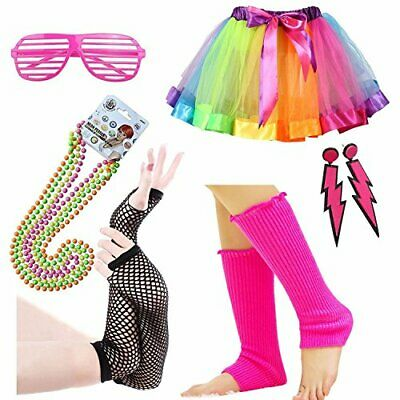 iLoveCos 80s Party Costume Accessories Set Rainbow Neon Adult Tutu,Leg Warmers,F