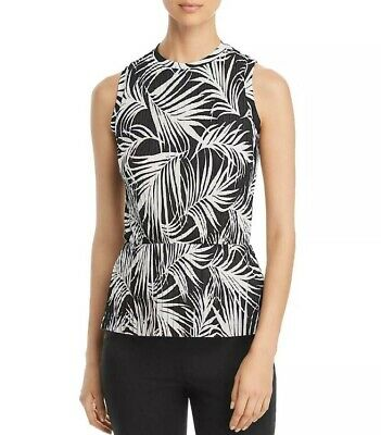 New $195 Hugo Boss Women's Size Medium Blouse Emirna Printed Black Ivory Peplum