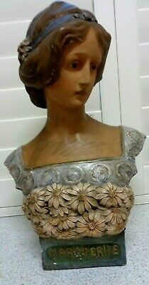 "Antique Art Nouveau Bust Statue Woman ''MARGUERITE"" Era Plaster French Sculpture"