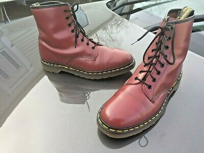 Vintage Dr Martens 1460 cherry red leather boots UK 10 EU 45 Made in England