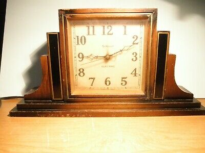 Antique Gilbert Electric Mantle Clock wooden square shape -Working