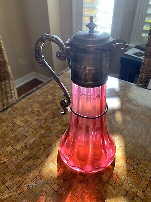 Large Antique Victorian Cranberry Ruby Glass Ewer / Claret Silver Plate