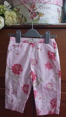 Girls VERTBAUDET Pink Floral Summer Cotton Trousers Age 4 yrs Very Pretty