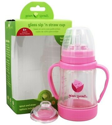 Green Sprouts - Glass Sip 'n Straw Cup Aqua