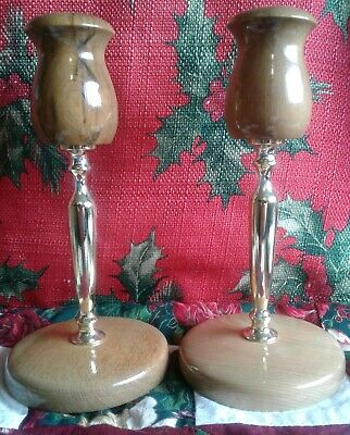 "OREGON MYRTLE WOOD 2 CANDLE STICK HOLDERS BEAUTIFUL 7"" TALL made in USA"