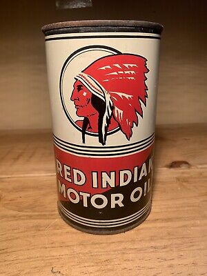 Superb 1940s Red Indian Mccoll Frontenac Imperial Quart Motor Oil can
