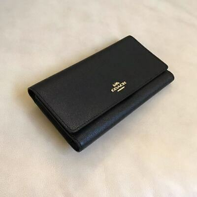 New Coach Trifold Black Leather Checkbook Wallet F79868