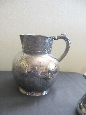 Quadruple Silverplate Engraved Water Pitcher #427
