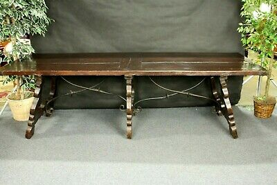 Spanish  Refectory Table Antique  Iron Stretchers Very Old  Large