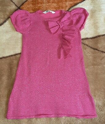 Girls H&M Pink ,Shiny, Short-Sleeved Dress, Size: 2-4 years