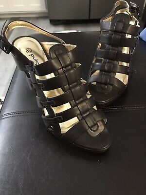 Women's PULSE Comfortable High Heel Open Toe Strappy Sandals; Size 11M Brown New