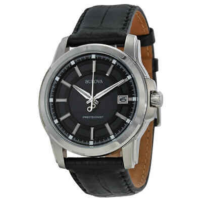 Bulova Precisionist Grey Dial Black Leather Men's Watch 96B158