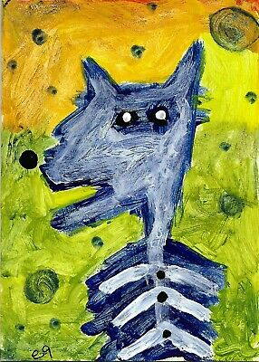 a dog and his bones e9Art ACEO Outsider Folk Art Brut Painting Expressionism Raw