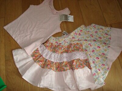 Next skirt and top outfit size 4 years new pink floral
