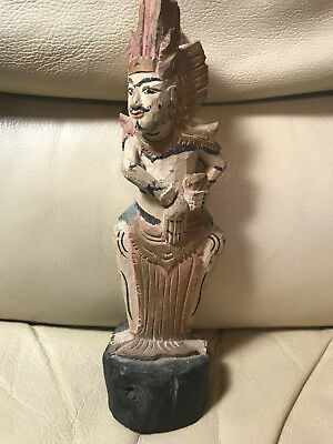 Antique Carved Asian Male Figure Dancing