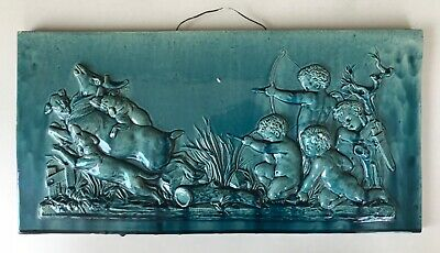 Stunning Original Antique Victorian Moulded Majolica Tile Plaque C1880