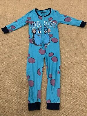 Sulley Monsters Inc University Thin All In One Pjs Sleepsuit Age 3-4-5