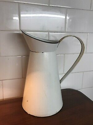 Vintage  Shabby chic White Enamel Metal Jug Pitcher Vase 24cm high