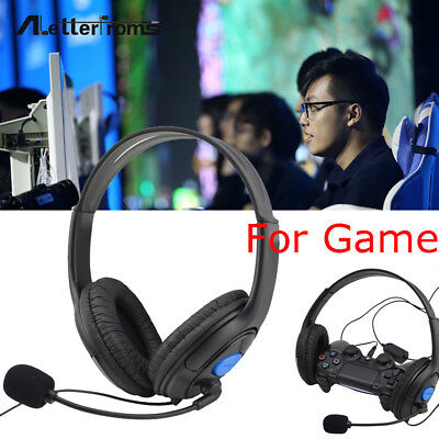 Wired Gaming Headset Headphones W/ Micro Earphone For Sony PS4 Play Consoles MP
