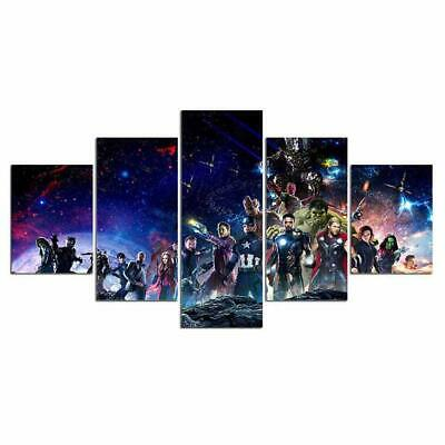 Print Framed Canvas Avengers Super Heroes 5 Pieces Wall Art Decor Ready to Hang