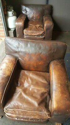 Antique Brown Leather Arm Chairs