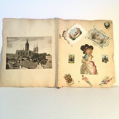 1880s -1920's Original Victorian Chromo Die Cut Scraps 2 Scrapbook Pages Soldier