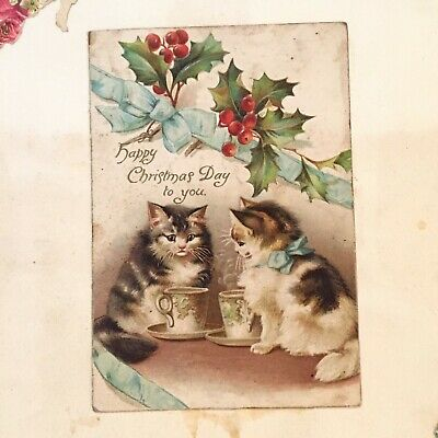 1880s -1920's Original Victorian Chromo Die Cut Scraps Scrapbook Page Cats