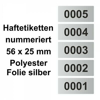 Labels/Sticker Polyester Silver - Continuously Numbered - 56 x 25 MM