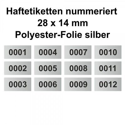Labels/Sticker Polyester Silver - Continuously Numbered - 28 x 14 MM