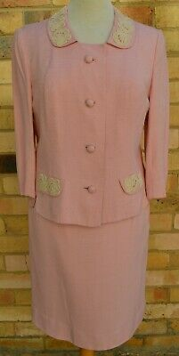Vintage Womens pink rayon lined suit 12/14