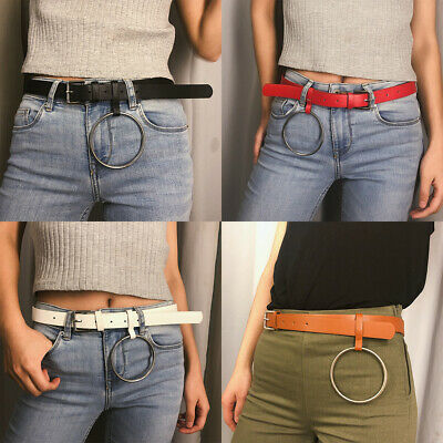 Adjustable Women Leather Belt Waistband Metal Buckle Waist Belts Waist Chain