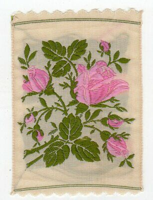 Vintage (c1932) Woven Embroidered Flower Silk Panel (Tea Rose)