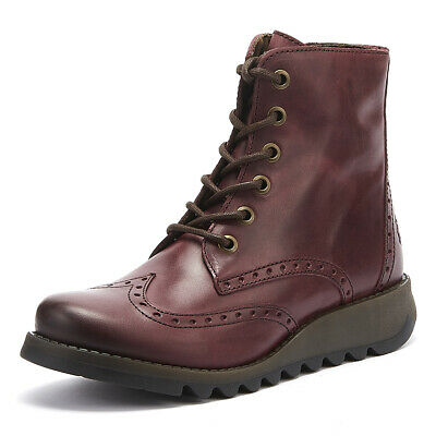 Fly London Sarl Womens Purple Leather Boots Ladies Casual Winter Shoes