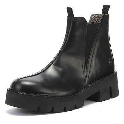 Fly London Baco Womens Glass Black Leather Boots Ladies Casual Winter Shoes