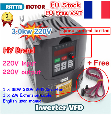 〖FR&EU〗Huanyang Inverter 220V 3KW 4HP Variable Frequency Drive VFD Speed Control