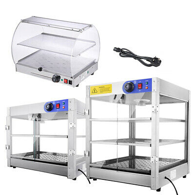 2/3 Tier Food Warmer Commercial Countertop Display Case Hot Food Heated Cabinet