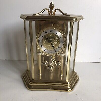 Schwarzwald Carriage Mantel Clock Brass Black Forest Germany Pendulum Working