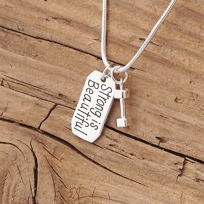 Sterling Silver Strong Is Beautiful Dumbbell Charm Necklace Fitness Bodybuilding