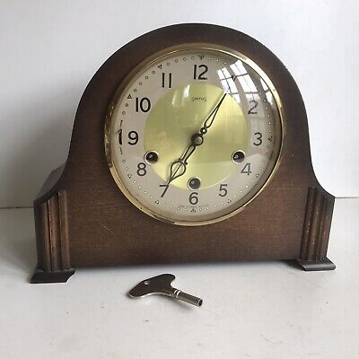 Smiths 8 Day Mantel Clock Oak Case Westminster Chimes Good Working Order & Cond