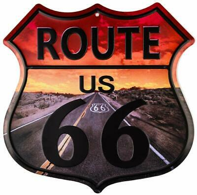 """TIN SIGN /""""Route 66"""" Highway Vintage West Poet Hobo Mancave Mechanic Tools Buy"""