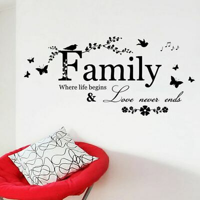 Family Where life begins and Love Never Ends Wall Sticker Quote Decal DIY  B56