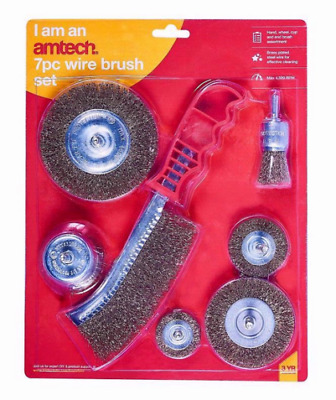 HEAVY DUTY 7PC DRILL WIRE WHEEL CUP FLAT BRUSH METAL CLEANING RUST SANDING uk