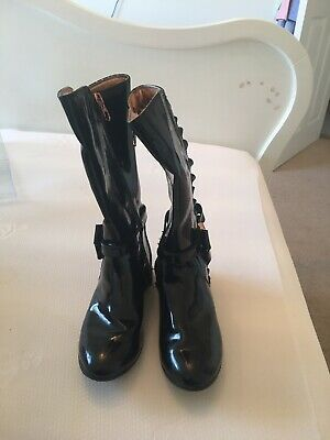 Girls Ted Baker black Patent long length boots, rose, gold zips and bows size 1