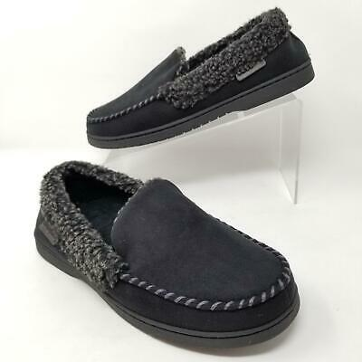 Dearfoams Slippers Mens Moccasin with Whipstitch Memory Foam Black Size S M L XL