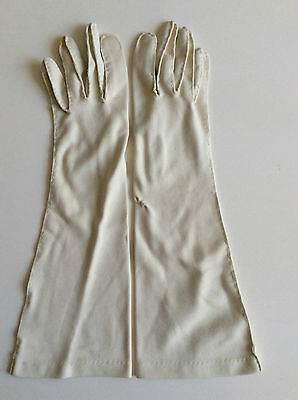 Vintage Beige Fabric Below Elbow Length Ladies  Gloves No:3
